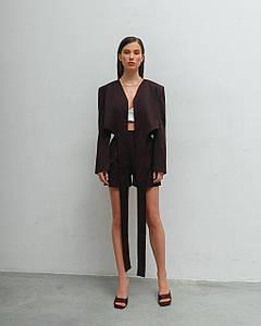 Костюм женский летний (пиджак, шорты) AniTi 629, шоколадный