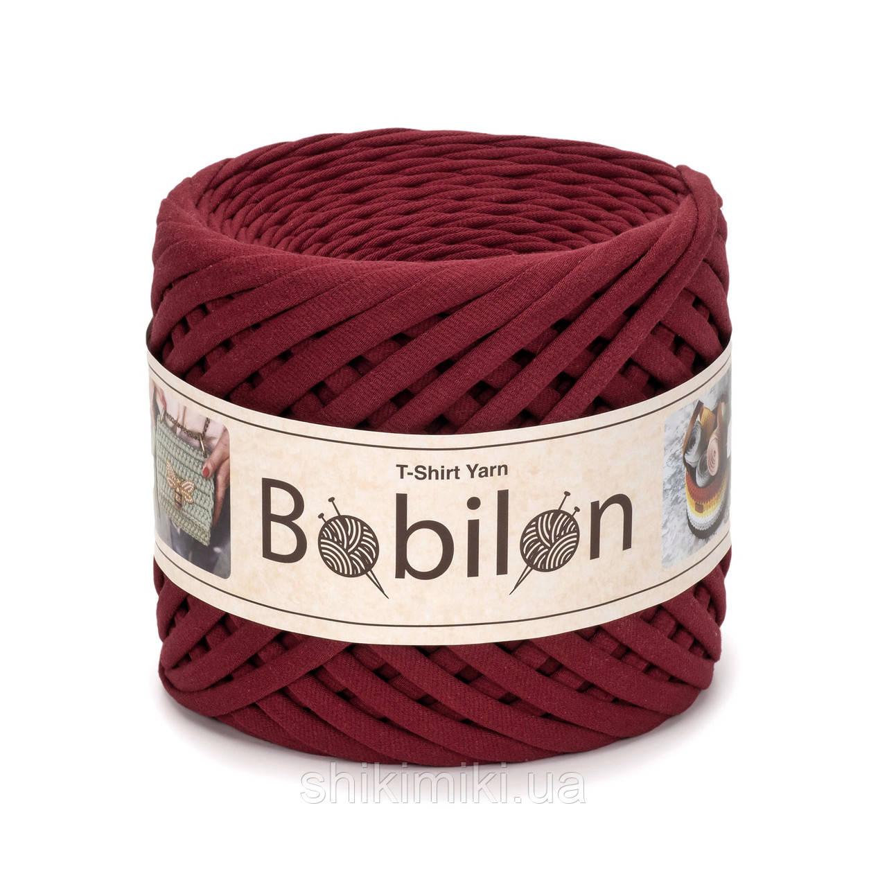 Трикотажная пряжа Bobilon (5-7 мм), цвет Бордовое бордо