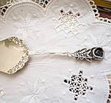 Посріблена німецька лопатка для торта, з трояндою на ручці сріблення, Antiko 100, Німеччина, вінтаж, фото 6