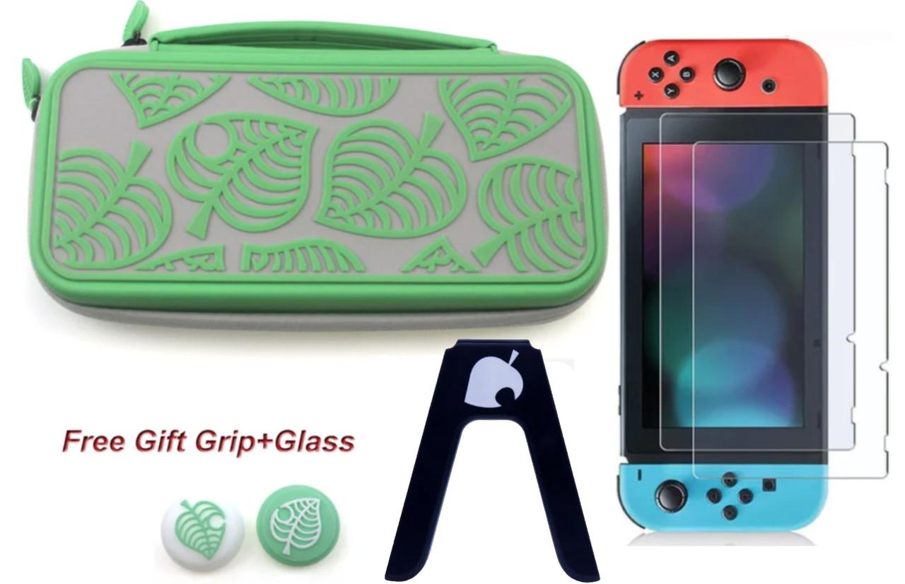 Комплект Мега Deluxe Animal Crossing кейс для Nintendo Switch + стекло + накладки + держатель