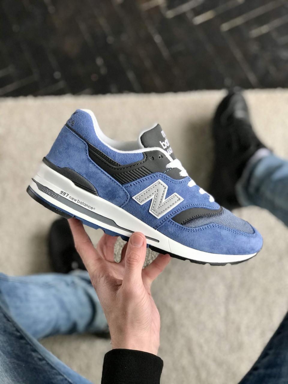 Мужские кроссовки New Balance 997 Синие Замшевые, Реплика