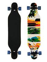 Скейт деревянный 880, наждак, колёса PU, (Канадский клен) Пейзаж