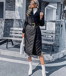 Пальто женское с поясом и разрезами по бокам Urban Berni Fashion (S)