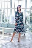 Легкое женское летнее платье на запах, по колено, с длинными рукавами. Цветы на изумруде. 40-42, 44-46, фото 2