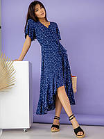 Летнее воздушное платье на запах синее S, M, L