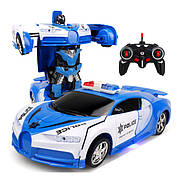 Машинка трансформер Lamborghini POLICE Car Robot Size 18 - Синя