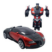 Машинка трансформер Bugatti Car Robot Size 1:18 - Червона