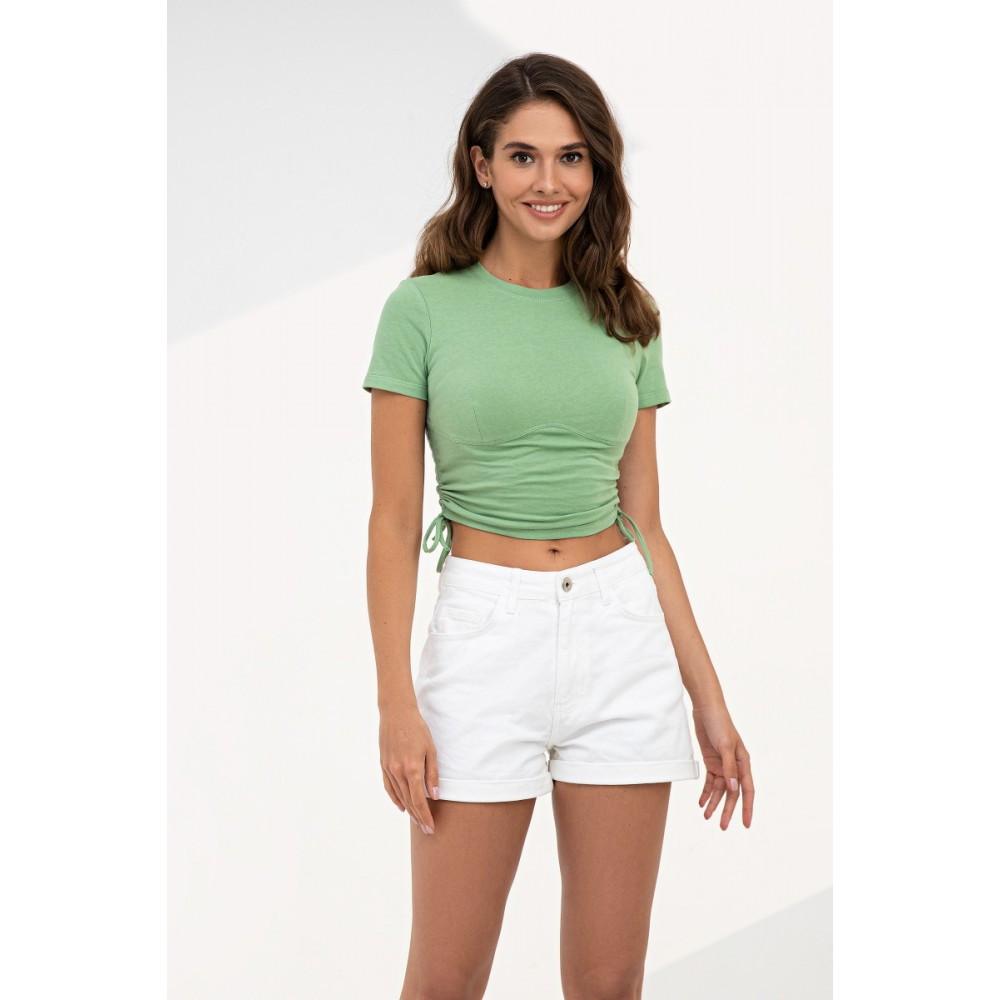 Топ футболка з драпіровкою фісташкового кольору трикотажний жіночий