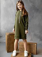 Детское спортивное платье худи цвета хаки рост 134, 152