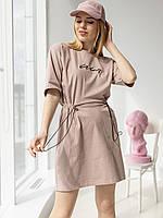 Стильное спортивное платье с вышивкой кофе с молоком размер 42-44