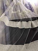 Тюль кремовый из фатина с вышивкой на метраж , висота 3 м, фото 7