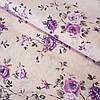 Бязь с сиреневыми цветами на нежно-персиковом, ш. 220 см