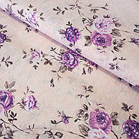Бязь с сиреневыми цветами на нежно-персиковом, ш. 220 см, фото 1