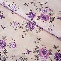 Бязь з бузковими квітами на ніжно-персиковому, ш. 220 см, фото 1