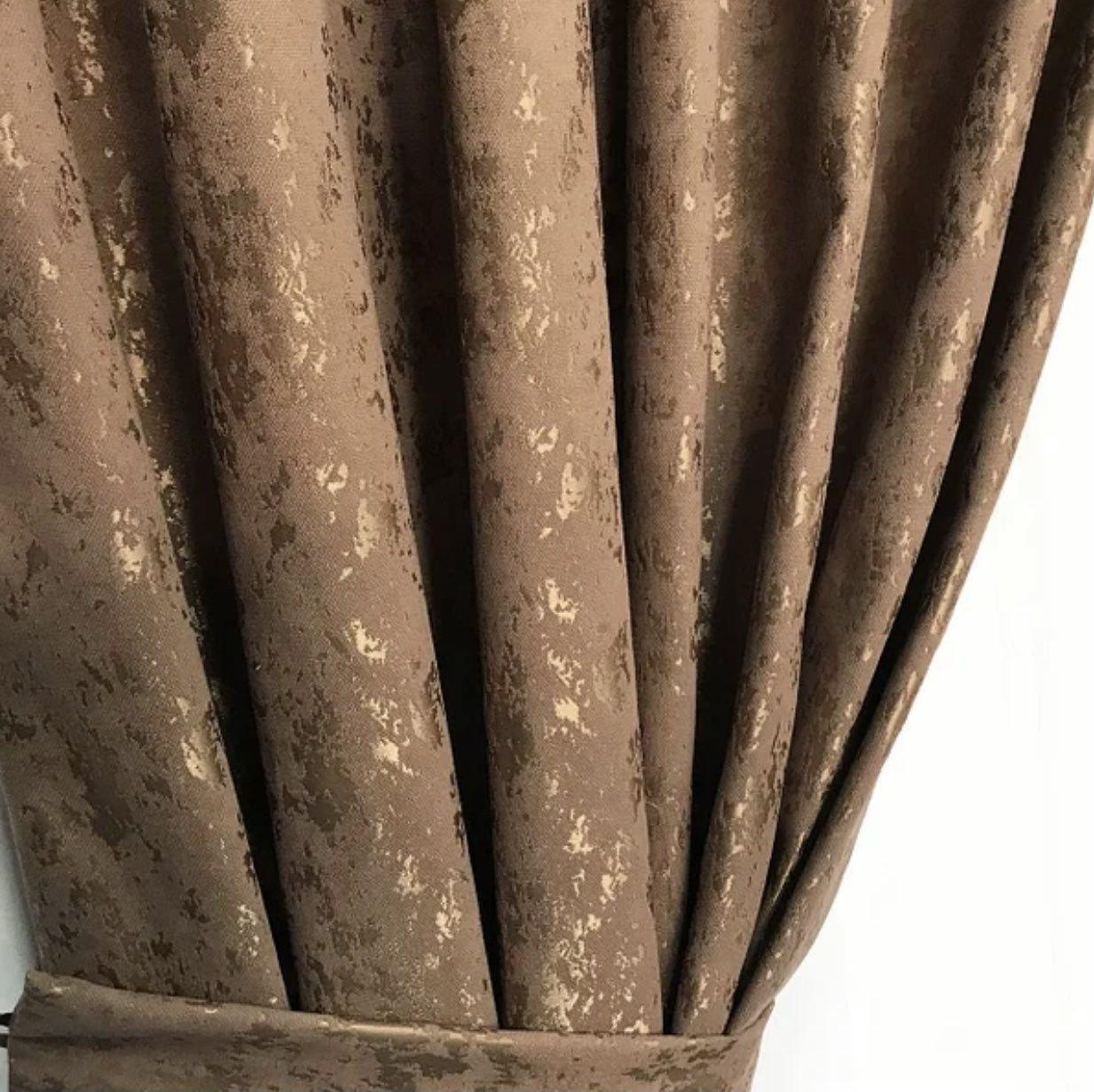 Комплект мраморных штор Готовые мраморные шторы Шторы с подхватами Шторы 200х270 Цвет Коричневый