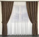 Комплект мраморных штор Готовые мраморные шторы Шторы с подхватами Шторы 200х270 Цвет Коричневый, фото 3