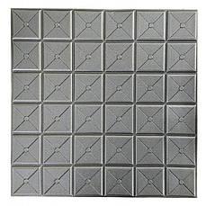 Самоклеящаяся декоративная 3D панель квадрат серебро 700x700x8мм