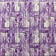 Самоклеющаяся декоративная 3D панель бамбуковая кладка фиолет 700x700x8.5мм