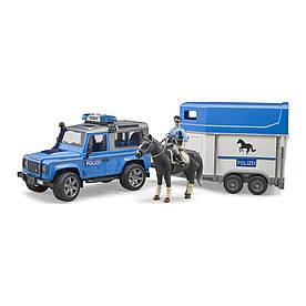 Land Rover Defender с прицепом и фигурка полицейского с конем 02588