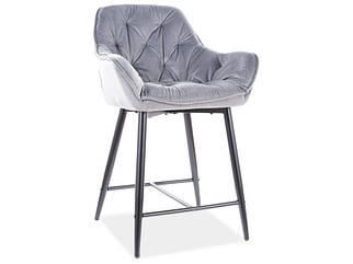 Полубарный стул CHERRY H-2 Velvet Signal Серый