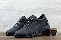 Мужские кожаные кроссовки Черные Jordan, фото 1