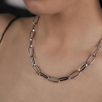 Цепь на шею протяжные звенья серебристое массивное колье ожерелье