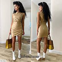 Эффектное облегающее короткое платье мини из эко кожи по фигуре без рукава р-ры 42-46 арт.  910