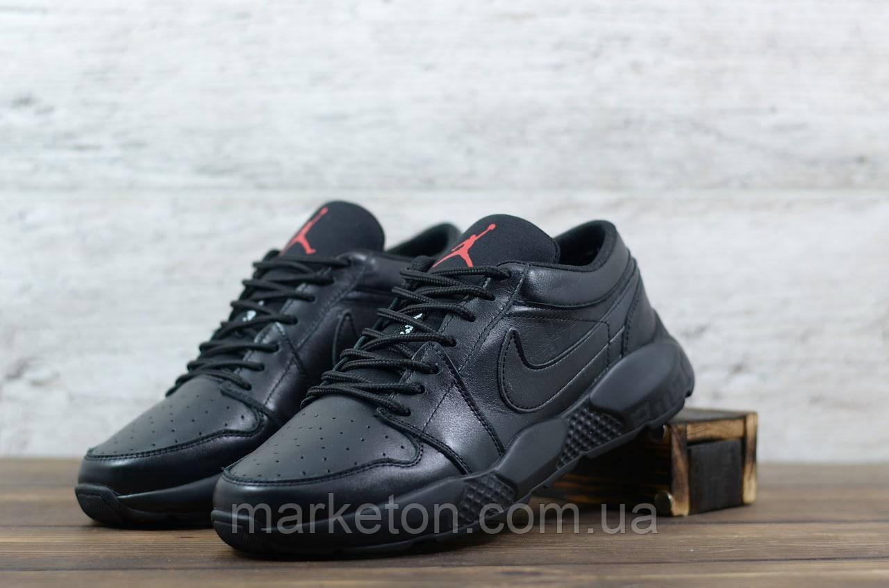 Чоловічі шкіряні Чорні кросівки Nike Jordan