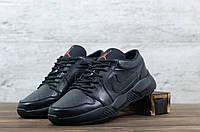 Чоловічі шкіряні Чорні кросівки Nike Jordan, фото 1