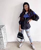 Женская модная ветровка из плащевки с джинсовыми вставками