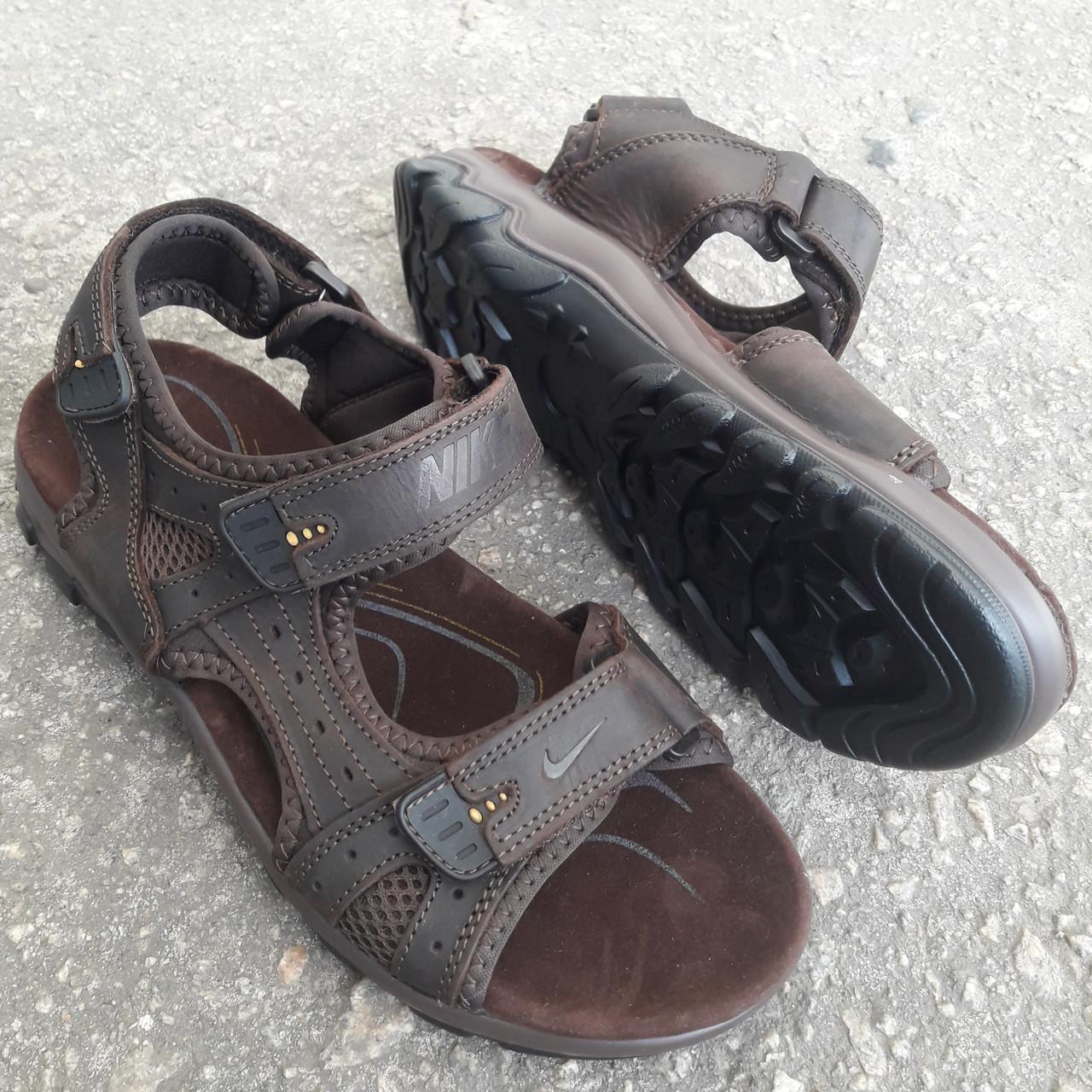 Сандалии мужские кожаные р.41 коричневые Nike