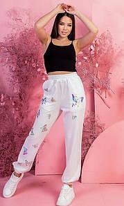 Р. 42-52 Женские спортивные трикотажные брюки с бабочками