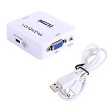 VGA - HDMI TV конвертер відео, аудіо, 1080P, Білий