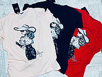 Футболка женская трикотажная для девушек Дама размер норма 42-46, цвет уточняйте при заказе, фото 1