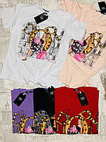 Футболка женская трикотажная для девушек Dior размер норма 42-46, цвет уточняйте при заказе, фото 1