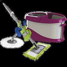 Набір для прибирання Planet Spin Mop Gold 20 л + плоска швабра пурпурний
