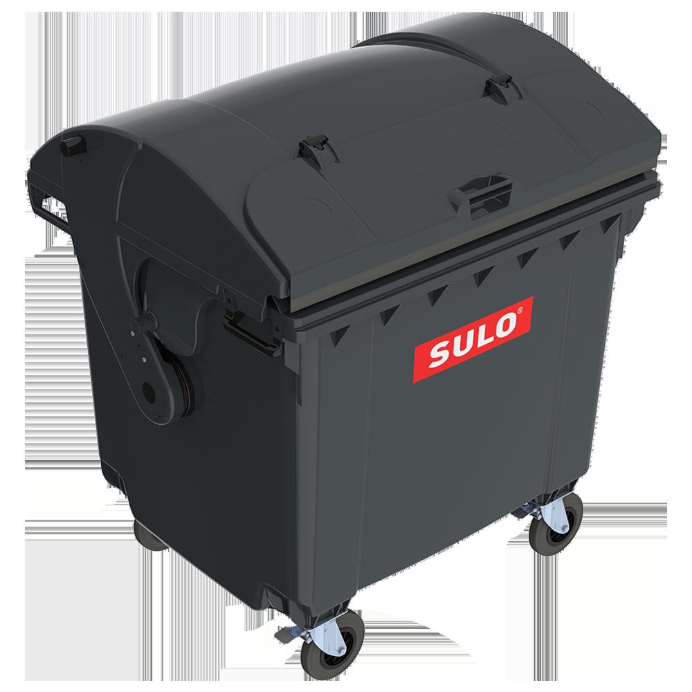 Контейнер сміттєвий ТПВ Sulo 1100 л з куполоподібної кришкою (модель кришка в кришці) сірий