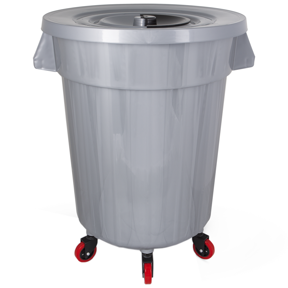 Бак для мусора Planet №6 120 л на колесах серый металлик