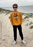 Спортивный костюм детский для мальчика с капюшоном и аппликацией оранжевый