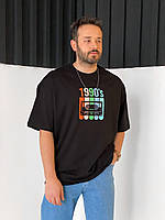 Чоловіча футболка оверсайз чорна 1900's