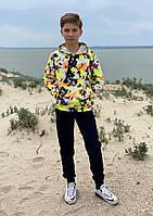 Спортивный костюм детский для мальчика с капюшоном и аппликацией тай дай