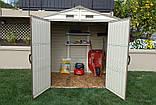 Сарай пластиковый StoreAll 245x168x220 см слоновая кость, коричневая крыша, фото 4