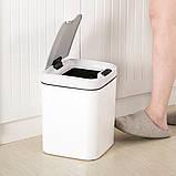 Сенсорное мусорное ведро JAH 15 л квадратное белый, фото 6