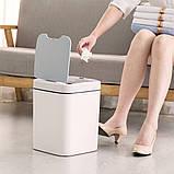 Сенсорное мусорное ведро JAH 15 л квадратное белый, фото 7