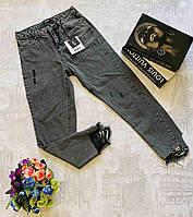Брюки джинсовые фабричные женские рванка размеры 25-30, серого цвета