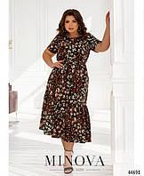 Женское платье большого размера с цветочным принтом чёрное 50-52,54-56,58-60,62-64