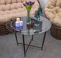 Садовый журнальный кофейный столик со стеклом Икс