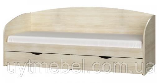 Ліжко Комфорт 800х1900 дуб трюфель/білий (Сучасні меблі)