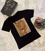 Футболка женская трикотажная с принтом размер норма 42-46, черного цвета рисунок уточняйте при заказе, фото 1