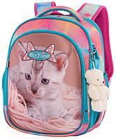 Школьный рюкзак с ортопедической спинкой для девочки с Котом 35х27х15 см бирюзовый для начальной школы Winner